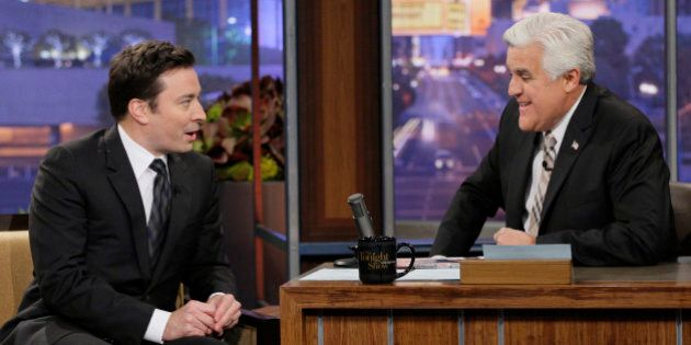 THE TONIGHT SHOW WITH JAY LENO -- Episode 4607 -- Pictured: (l-r) Jimmy Fallon during an interview with...
