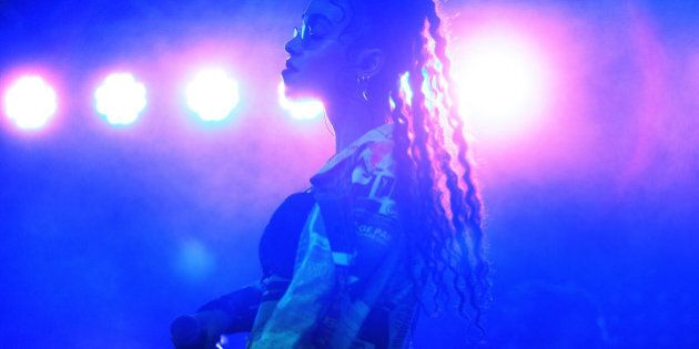 CHICAGO, IL - JULY 19: Tahliah Barnett aka FKA Twigs performs onstage during 2014 Pitchfork Music Festival...