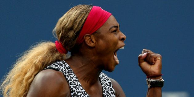 NEW YORK, NY - SEPTEMBER 07: Serena Williams of the United States reacts in the third set against Caroline...