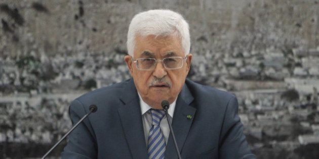 RAMALLAH, WEST BANK - AUGUST 16: Palestinian President Mahmoud Abbas speaks during a ministerial cabinet...