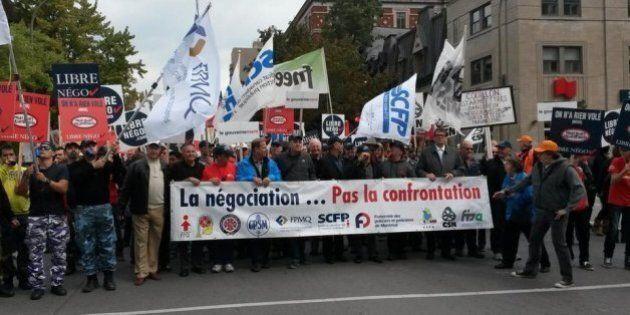 Manifestation à Montréal de la Coalition pour la libre négociation