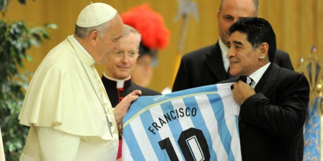 ROME, ITALY - SEPTEMBER 01: Pope Francis meets Diego Maradona during an audience with the players of...