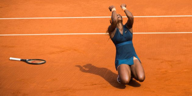 PARIS, FRANCE - JUNE 08: Serena Williams wins the French open 2013 at Roland Garros on June 8, 2013 in...