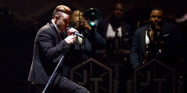 LOS ANGELES, CA - AUGUST 12: Justin Timberlake performs onstage during The 20/20 Experience World Tour...