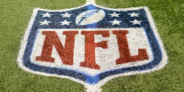 DETROIT, MI - NOVEMBER 24: A detailed view of an NFL shield logo painted on the field before the game...