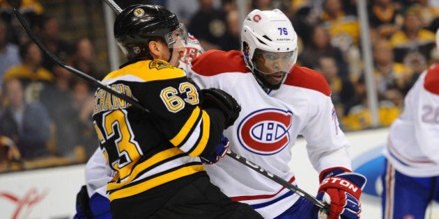 BOSTON, MA - MAY 1: P.K. Subban #76 of the Montreal Canadiens skates against Brad Marchand #63 of the...