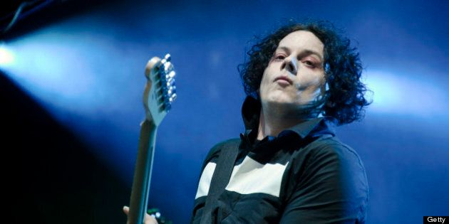 US singer and guitarist Jack White performs on stage on the third day of the Eurockeennes' festival on...