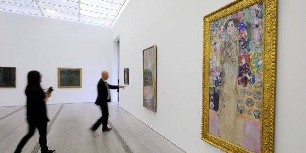 A painting by Gustav Klimt untitled 'Ria Munk III' (Far R) is displayed during a preview of the exhibition...