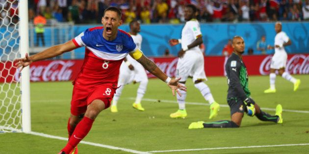 NATAL, BRAZIL - JUNE 16: Clint Dempsey of the United States reacts after scoring his team's first goal...