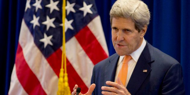 U.S. Secretary of State John Kerry speaks during a press conference concluding his visit to Naypyitaw...