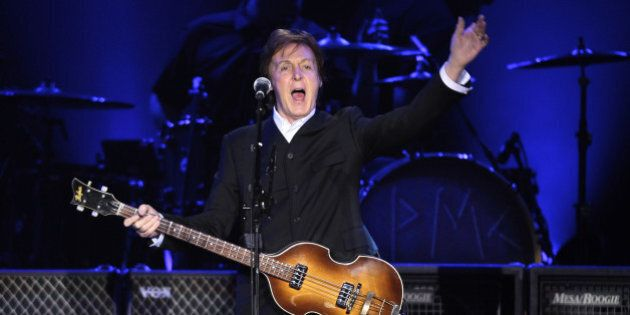 Paul McCartney performs on stage on his On The Run tour at Ahoy on March 24, 2012 in Rotterdam, Netherlands....