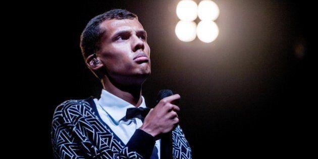 Belgian singer Stromae performs during the 'Lowlands' music festival in Biddinghuizen, on August 16,...
