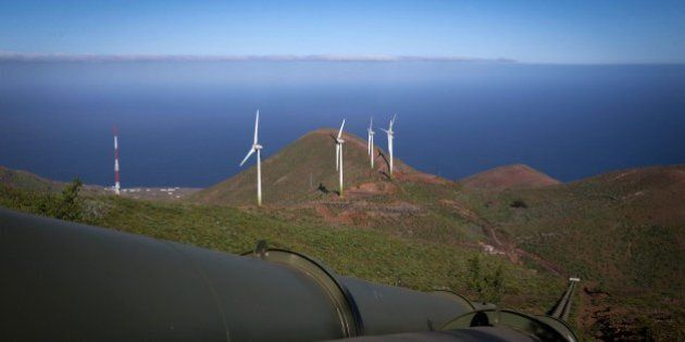 TO GO WITH AFP STORY BY KATEL ABIVEN - General view of the water pipelines and wind turbines near the...