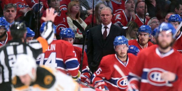 MONTREAL, QC - MAY 6: Michel Therrien of the Montreal Canadiens during Game Three of the Second Round of the 2014 Stanley Cup Playoffs against the Boston Bruins in  at the Bell Centre on May 6, 2014 in Montreal, Quebec, Canada. (Photo by Francois Lacasse/NHLI via Getty Images)