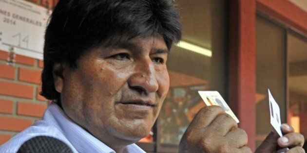 Bolivian President and candidate to the reelection for the Movimiento Al Socialismo (MAS) party Evo Morales...