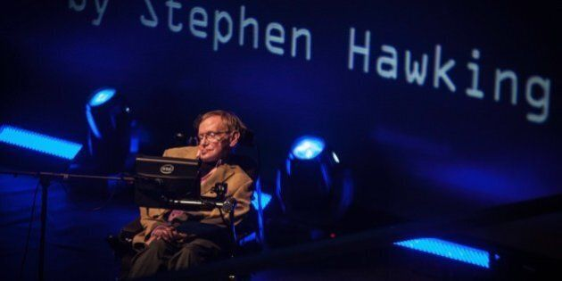 British theoretical physicist professor Stephen Hawking gives a lecture during the Starmus Festival on...