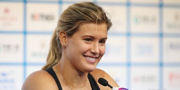 BEIJING, CHINA - SEPTEMBER 29: Eugenie Bouchard of Canada speaks to media during a press conference on...