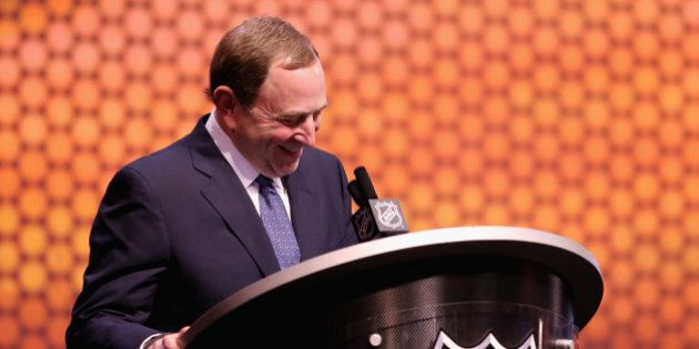 PHILADELPHIA, PA - JUNE 27:  NHL Commissioner Gary Bettman speaks during the first round of the 2014 NHL Draft at the Wells Fargo Center on June 27, 2014 in Philadelphia, Pennsylvania.  (Photo by Mitchell Leff/Getty Images)
