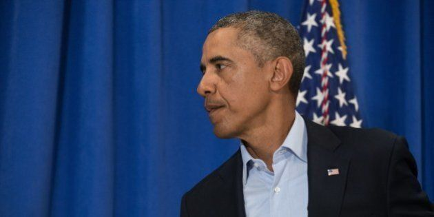US President Barack Obama leaves after making a statement to the press on the death of American journalist...