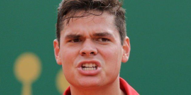 Canada's Milos Raonic reacts on April 18, 2014 during his Monte-Carlo ATP Masters Series Tournament tennis...