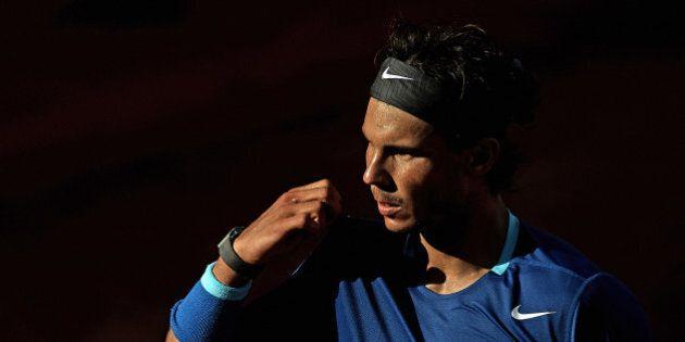 BARCELONA, SPAIN - APRIL 25: Rafael Nadal of Spain looks on in his match against Nicolas Almagro of Spain...