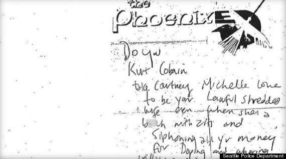 Une note de Kurt Cobain dit des choses horribles sur Courtney