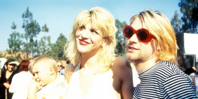 UNITED STATES - DECEMBER 22: Kurt Cobain with wife Courtney Love and daughter Frances Bean attending...