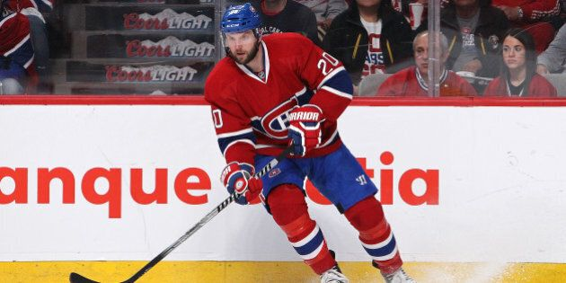 MONTREAL, QC - MAY 19: Thomas Vanek #20 of the Montreal Canadiens skates with the puck against the New...