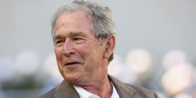WACO, TX - AUGUST 31: Former U.S. President George W. Bush attends a game between the Southern Methodist...