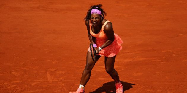PARIS, FRANCE - JUNE 03: Serena Williams of the United States celebrates a point in her Women's quarter...