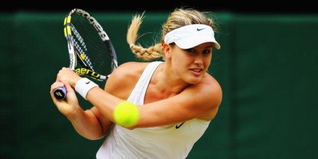LONDON, ENGLAND - JULY 05: Eugenie Bouchard of Canada plays a backhand return during the Ladies' Singles...