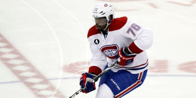 Montreal Canadiens' P.K. Subban (76) skates against the Pittsburgh Penguins during the third period of...
