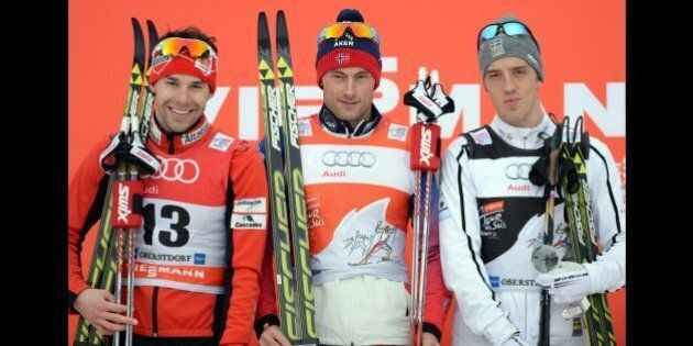 (L-R) Canadian Alex Harvey, Norwegian Petter Jr Northug and Swedish Calle Halfvarsson pose during the...