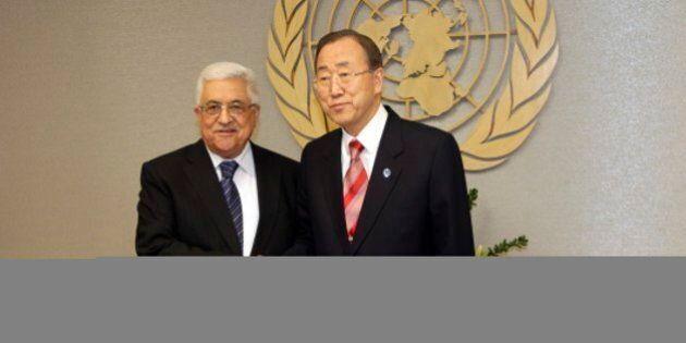 UN Secretary General Ban Ki-moon, right, shakes hands with Palestinian President Mahmoud Abbas at U.N....