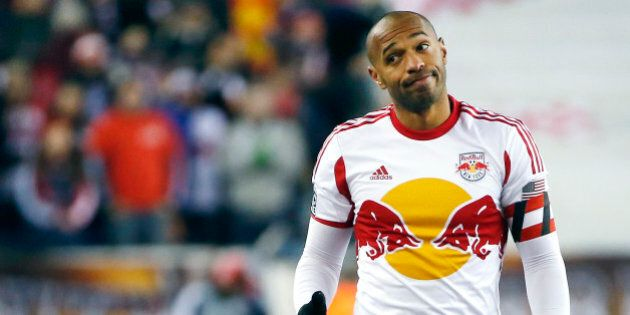 New York Red Bulls forward Thierry Henry gestures during the second half of the second soccer game of...