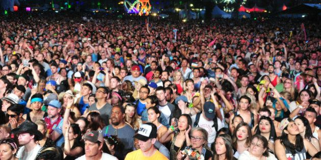 INDIO, CA - APRIL 11: A view of the audience during Broken Bells on day 1 of the 2014 Coachella Valley...