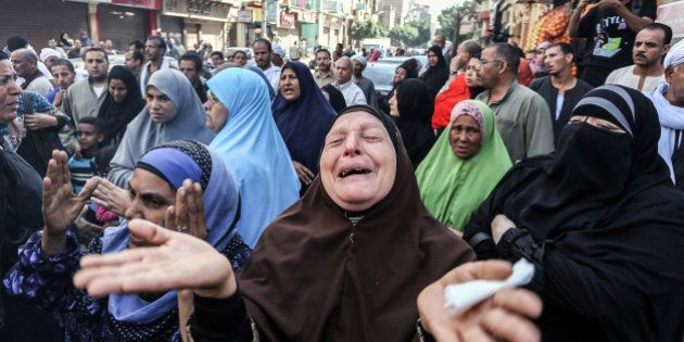 CAIRO, EGYPT - APRIL 28: Minya Criminal Court decides death penalty about 683 anti-coup Egyptians, one...