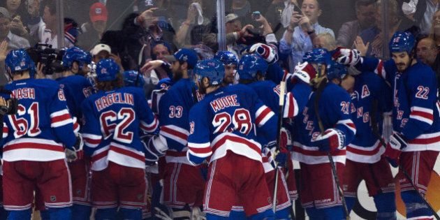 The New York Rangers as they win 1-0 against the Montreal Canadiens in game 6 of the Eastern Conference...