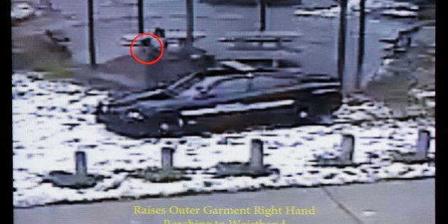 This still image taken from a surveillance video played at a news conference held by Cleveland Police,...