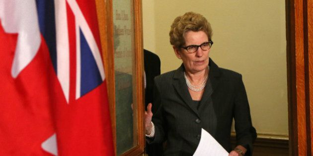 TORONTO, ON - MARCH 27: Kathleen Wynne addresses the media after a bombshell revelation that the former...