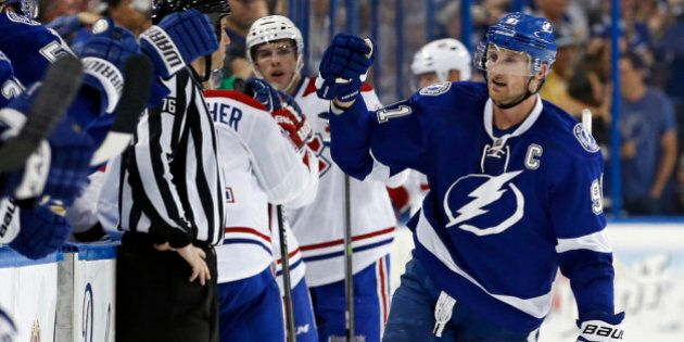 TAMPA, FL - APRIL 16: Steven Stamkos #91 of the Tampa Bay Lightning celebrates a goal against the Montreal...