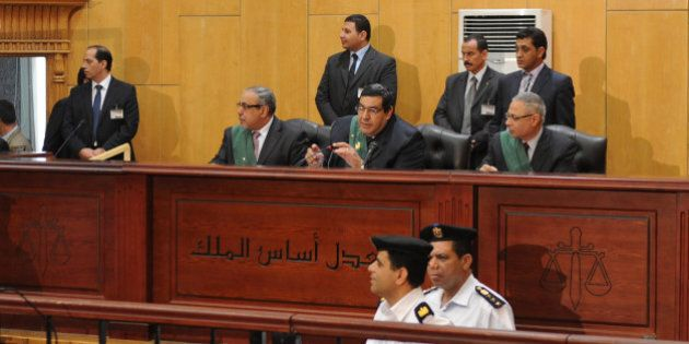 CAIRO, EGYPT - APRIL 30: An Egyptian court resumed the trial of Mohamed Morsi and 130 other defendants...