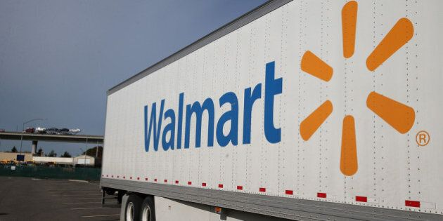 SAN LORENZO, CA - FEBRUARY 20: A Wal-Mart truck sits outside of a Wal-Mart store on February 20, 2014...