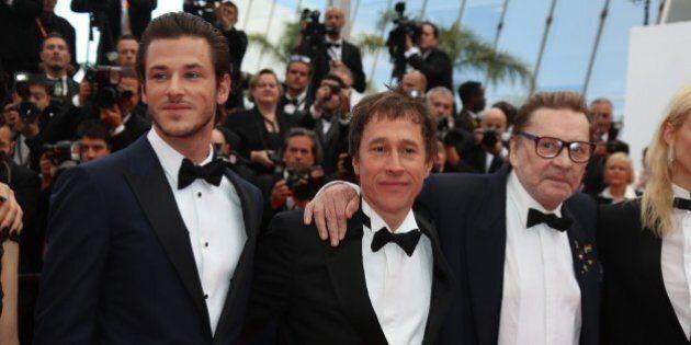 Gaspard Ulliel (L-R), director Bertrand Bonello and Helmut Berger attend the premiere