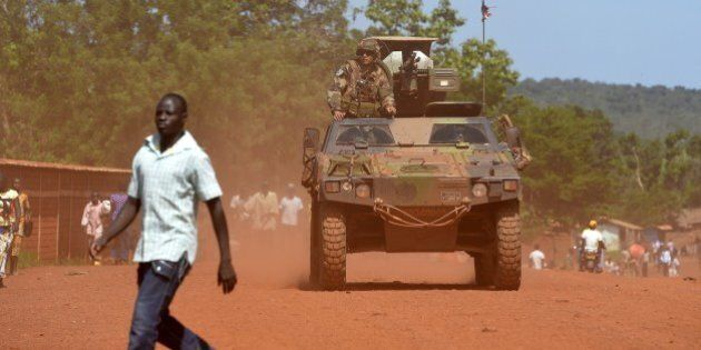 An armoured vehicle of the 13th Battalion of Chasseurs Alpins (13th BCA), part of the Sangaris forces,...