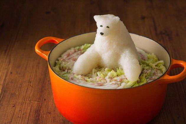 Les sculptures de plats à base de radis, imaginées par l'artiste japonais Masanori Kono