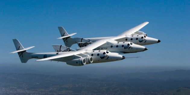 Virgin Galactic's private SpaceShipTwo spacecraft flies over the San Francisco Bay in San Francisco,...