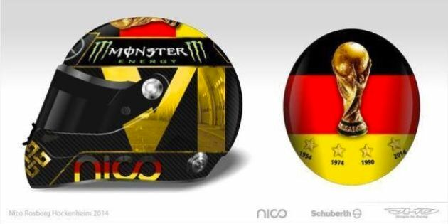 Nico Rosberg veut porter un casque pour fêter la Coupe du monde de l'Allemagne, la FIFA le lui
