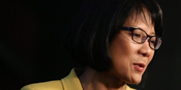 TORONTO, ON - OCTOBER 20: Olivia Chow scrums with media after the debate. Big Ideas mayoral debate hosted...