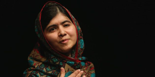 BIRMINGHAM, ENGLAND - OCTOBER 10:  Malala Yousafzai speaks during a press conference at the Library of Birmingham after being announced as a recipient of the Nobel Peace Prize, on October 10, 2014 in Birmingham, England. The 17-year-old Pakistani campaigner, who lives in Britain where she received medical treatment following an assassination attempt by the Taliban in 2012, was jointly awarded the Nobel peace prize with Kailash Satyarthi from India. Chair of the Nobel Committee Thorbjorn Jagland made the announcement in Oslo, commending Malala for her 'heroic struggle' as a spokesperson for girls' rights to education.  (Photo by Christopher Furlong/Getty Images)